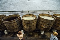 Wooden open fermentation barrels in the historical cellars of Pilsner Urquell Brewery in Pilsen city, Czech Republic.