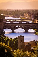 Afternoon light on the Arno River and Ponte Vecchio, Florence, Tuscany, Italy.