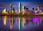 Downtown Dallas, Texas reflecting in the Trinity River.