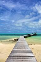 Wooden jetty, Carp Island, Republic of Palau, Micronesia, Pacific Ocean.