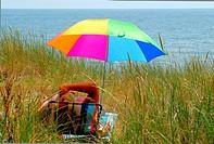 Sunshade on the beach in Ystad, Sweden.