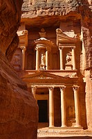 View of the Treasury, Al-Khazneh, from the Siq, Petra, Jordan.