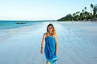 Woman in Matemwe beach. Zanzibar island. Africa.