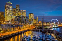 Seattle skyline from Pier 66. The Seattle Great Wheel is a giant Ferris wheel at Pier 57 on Elliott Bay in Seattle, Washington. With an overall height...