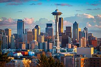 Seattle skyline at dawn on a winter day in February.