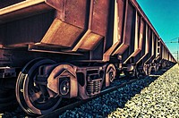 Railway truck used to ship iron ore across South Africa from the mine to a smelting plant.