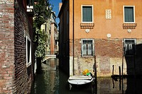 Motorboat moored in Venice, Italy