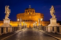 The Mausoleum of Hadrian, usually known as the Castel Sant´Angelo, is a towering cylindrical building in Rome, central Italy, initially commissioned b...