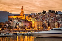 Marina and Old Town with the Basilique of Saint Michel Archange. Menton. Provence Alpes Cote d´Azur. French Riviera. Mediterranean Sea. France. Europe...
