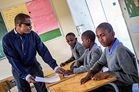 The teacher Tobias Mwaudikange has a lesson of natural science with the 4th grade of visually impaired children at Eluwa Special School in Ongwediva, ...