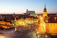 View of the Old Town and the Royal Castle Square at dusk from St. Anne's Church tower. Warsaw, Poland.