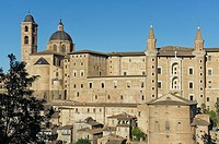 View of the city with Palazzo Ducale and Cathedral, Urbino, District of Pesaro and Urbino, Marches, Italy, Europe.