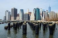 Downtown Manhattan skyline from the Brooklyn Bridge Park.