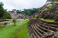 View of the Palace from the Temple of the Skull, Palenque Mayan Archaeological Site, Palenque, State of Chiapas, Mexico, North America.