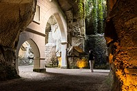 Cycle Path of the Loire by bike through a series of Troglodyte Houses at Souzay-Champigny, Saumur District, Maine-et-Loire, Pays de la Loire region, L...