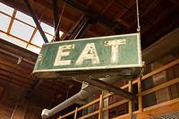 Eat, antique sign, Durham, North Carolina, USA
