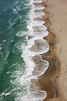 Aerial view of waves at Hampton Beach, New Hampshire, USA