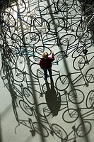 ´Forever´ (2003, Ai Weiwei´s bicycle sculpture), MFA, Museum of Fine Arts, Boston, Massachusetts, USA