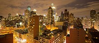 East side skyline at 62nd St., (looking west) at night, New York City, USA