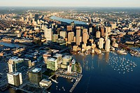 Seaport district, aerial, Fan Pier, South Boston, Massachusetts, USA
