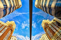 Low angle view of Carrion building and Palacio de la Prensa at Callao square. Madrid. Spain.