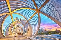 Arganzuela bridge, designed by architect Dominique Perrault. Madrid Rio Park. Madrid. Spain.