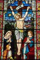 Stained glass window of Christâ. . s crucifixion, Oslo Domkirke, Oslo Cathedral, Oslo, Norway.