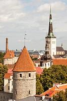 Saint Olafâ. . s Church, Oleviste Church, from Patkuli viewing platform, Toompea Hill, Old Town, Tallinn, Estonia.