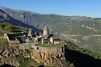 Tatev monastery standing on the edge of a deep gorge of the Vorotan River, Syunik Province in southeastern Armenia, Eurasia.