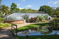 Water garden and greenhouse, Jardins des Plantes, Nantes, Loire Atlantique, France