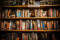 A bookshelf of travel books, Seattle bookstore, Washington state.