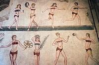 Bikini girls mosaic, Villa Romana del Casale, Piazza Armerina, Sicily, Italy.