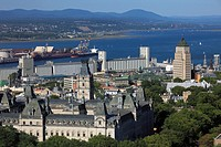 Canada, Quebec City, skyline, Parliament, harbor, St Lawrence River,.