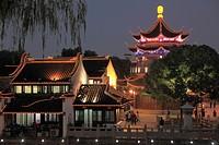 China, Jiangsu, Suzhou, Shantang Old Town, pagoda, old houses,.