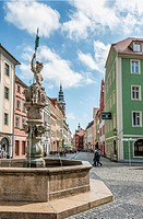 Fountain at the Obermarkt in Goerlitz, Saxony, Germany.