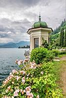 Pavilion at the Botanic Garden of Villa Monastero, Varenna, Lombardy, Italy.