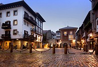 Hondarribia-The Basque Country. Sunset in the village and after rain the light reflect on the cobblestones.
