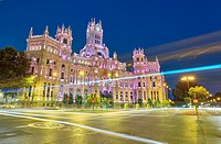 Madrid city hall at its new location,The Cybele Palace, formerly The Palace of Communication, once the headquarters of the postal service. Madrid, Spa...