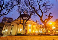 Argentina, Buenos Aires Province, City of Buenos Aires, Belgrano, Twilight view of the Plaza Manuel Belgrano and Inmaculada Concepcion Church known as...