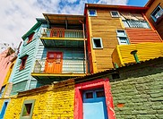 Argentina, Buenos Aires Province, City of Buenos Aires, La Boca, View of Colourful Caminito.