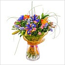 Flower bouquet from roses, iris and statice flowers in glass vase isolated on white background. Closeup.