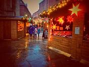 Christmas cabins at St Nicholas Fair York North Yorkshire England UK United Kingdom GB Great Britain.