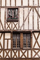 An old half timbered house in old Dijon.