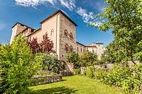 Castle garden inside Rocca di Angera at Lago Maggiore, Varese, Italy.