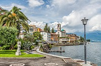Waterfront of Brissago at Lago Maggiore, Ticino, Switzerland.