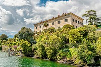 Palazzo Madre at Isola Madre, Lago Maggiore, seen from the lakeside, Piemont, Italy.