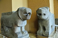 Two lions from the gates of Sam´al, Pergamon Museum. Berlin, Germany