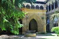 The Cistercian Veruela Abbey, XIIth century.The cloister. Saragossa province, Spain