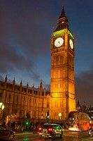 Big Ben and British Parliament at night seen from Westminster Bridge, London