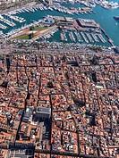 Aerial view of Ciutat Vella Quarter and sea port in Barcelona.